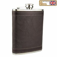 8oz Hip Flask Brown Leather Effect Brand New High Quality Stainless Steel