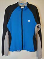 PEARL IZUMI Zip Front Jacket L Large Blue Cycling Back Pockets Bike Womens