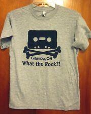 WHAT THE ROCK small T shirt Columbus cassette-tape crossbones Ohio boutique WTR