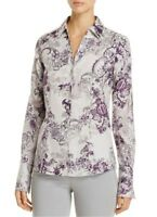 Foxcroft NYC Lauren Floral Fitted Button-Down Top Blouse Womens Sz 20W Plus
