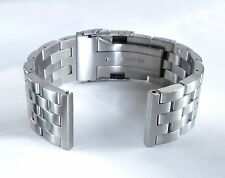 22mm Straight End Brushed Engineer Watch Bracelet, Solid Stainless Steel Link