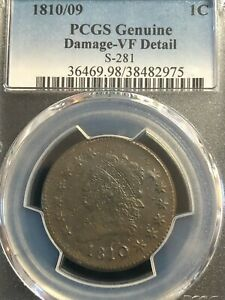 1810 / 09 Classic Liberty Head Large Cent PCGS VF Details S-281 Variety
