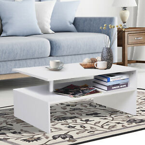2 Tier Coffee Table End/Side Table Modern Design w/Open Shelf Living Room White