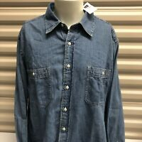 BNWT Gap Denim Jean Button Up Shirt Jacket Sz XL Blue Casual Chest Pockets