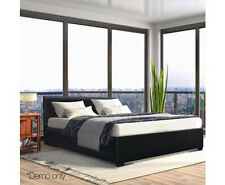 Queen Size Leather and Wood Storage Bed - BFRAME-E-NINO-Q-BK-AB