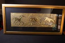 Repousse of 3 Horses - Metal Art by Ann Dergara - Signed - Nice
