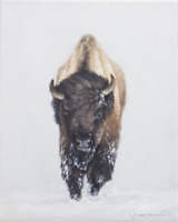 Western Winter Bison Painting - Original Oil on Canvas - Signed by Artist