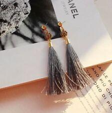 NEW Forever 21 BOHO Elegant Flower Rhinestone Gray Tassel Fringe Long Earrings