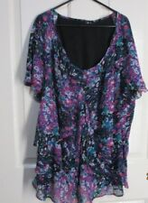 Ladies Frilly Floral short sleeved Blouse size 20