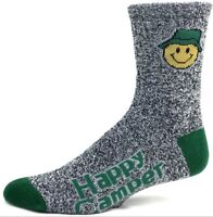 Happy Camper Camping Quarter Socks Heather Gray with Forest Green Heel Toe
