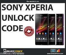 Unlock Code for Sony Xperia ZL Z Z1 Z2 Z3 SP SL J M S E M M2 Bell Virgin Sasktel
