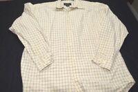 Eddie Bauer Small Light Yellow Gray Plaid Cotton Long Sleeve Men's Shirt