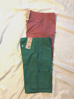 Levi's: Men Cargo Shorts, Below Knee Length, Flat Front: Green, Faded Red, 30>36