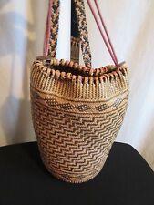 Vtg. Black & Tan Woven Straw Backpack Tote South American Folk Art