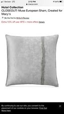 Hotel Collection EURO Pillow sham - Silver RETAIL $135