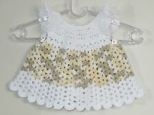 New Handmade Crochet  Size 3-6 Months Yellow White Cap Sleeves Dress
