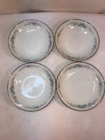 Vtg 4pc 1950's Noritake Roseberry Blue flower Berry Dessert Sherbert Bowls