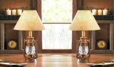 2 Camping Style Lantern Table Lamps w/ Burlap Neutral Shade Vintage Style