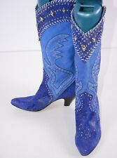 El Vaquero Women's Western Boots Size 36.5 Italy Blue Jeweled Cowgirl 7 US Boho