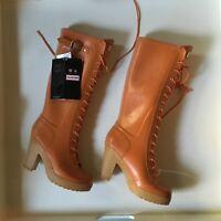 "NEW UltraRARE Hunter Lapins Orange 4""Heel Lace Up Rubber Rain Boots US Womens 9F"