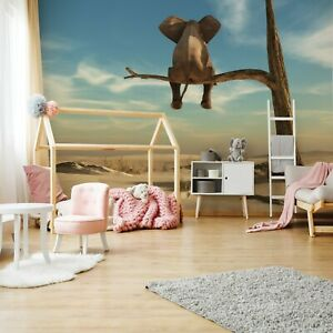 Vlies Fototapete Elefant auf baum Kinderzimmer Tiere Natur Afrika Himmel Sand 91
