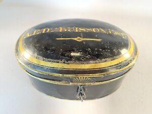 Antique Tin English Barristers Wig Tin/Carrier/Box/Case- A.E.Dubuisson, ESQ.