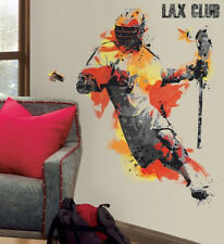 "LACROSSE PLAYER wall stickers MURAL 9 decals 37"" men's boy's sports decor"