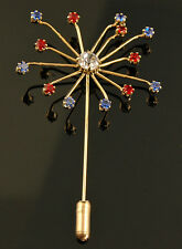 SPARKLER COLORED CRYSTAL PIN - PATRIOTIC JEWELRY PIN