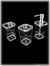 Modern 3pc Clear Acrylic Bathroom Set w/ Soap Pump/Toothbrush Holder/Canister