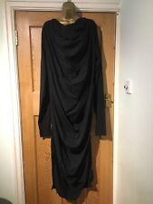 Metamorphoza Designer Maxi Dress Size L Black Stretch Cowl Slits Gathered
