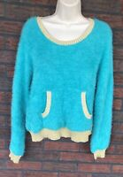 Juicy Couture Sweater Medium Furry Teal Gold Long Sleeve Pockets Soft Glittery