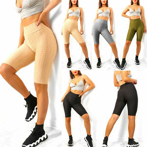 Women Waffle Honeycomb Shorts Yoga Anti Cellulite Ladies Cycling Hot Knee Pants