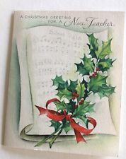 Vintage C 00004000 Hristmas Card A Christmas Greeting For A Nice Teacher