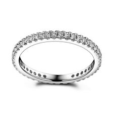 Simple Vintage Band Ring 0.4ct Moissanite Solid 14K White Gold 5.5# High Quality