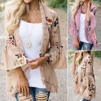 Vintage Boho Women Floral Loose Shawl Kimono Cardigan Chiffon Coat Jacket Blouse