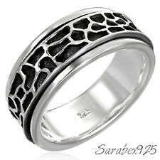 925 STERLING SILVER ROCKS SPINNER RING - V (US 10.75) MEN / WOMEN / UNISEX