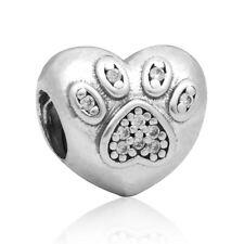 European New Heart Bead CZ Pendant Charms Fit 925 Silver Bracelet Necklace Chain