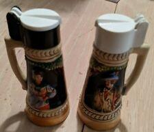 Vintage German Beer Stein Flip Top Salt & Pepper Shakers Set Made In Germany