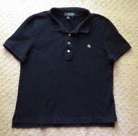 GUC Women's Lauren Ralph Lauren Petite Black Gold Button Polo Shirt-Size PL