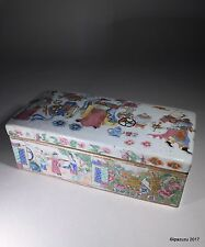 Antique Cantonese Chinese Porcelain Box 1800s