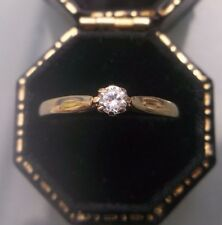 Women's 9ct Gold CZ Stone Solitaire Ring Hallmarked Weight 0.94g Size N 1/2