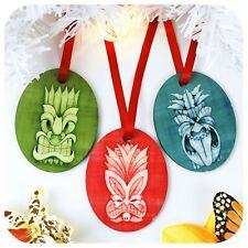Tiki Christmas Tree Decorations, Set of 3, Tropical, Hawaiian, Mele Kalikimaka