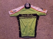 JUST RIDE Cycling Team Bicycle Jersey SMALL Neon Green Full Zipper Front COMFY