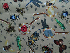BUGS INSECTS BUTTERFLY BEE GRASSHOPPER MAGNIFYING GLASS COTTON  FABRIC FQ