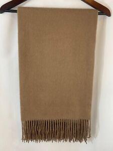 "Williams Sonoma 100% Cashmere Throw Blanket Dark Taupe Brown 50x65"" NWT"