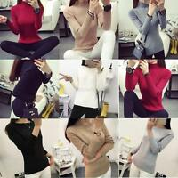 Women's Long Sleeve Knitted Pullover Sweater Bodycon Jumper Blouse Tops Knitwear