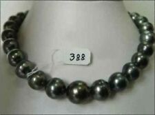 RARE NATURAL 12-14MM SOUTH SEA BLACK PEARL NECKLACE 18 INCH 14K GOLD CLASP