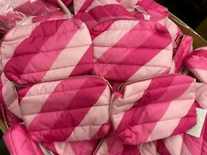 NEW! Lot of 36 X Estee Lauder Pink Striped Cosmetic Makeup Bag