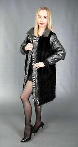 2711 NEW AMAZING REVERSIBLE BLACK SHEARED BEAVER COAT FUR BEAUTIFUL LOOK SIZE M