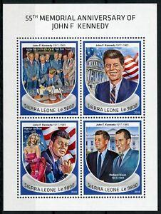 Sierra Leone JFK Stamps 2018 MNH John F Kennedy US Presidents People 4v M/S